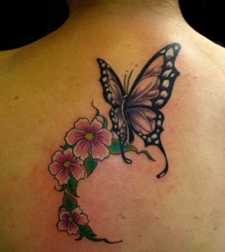 awesome flowers and butterfly tattoo on upper back. Black Bedroom Furniture Sets. Home Design Ideas