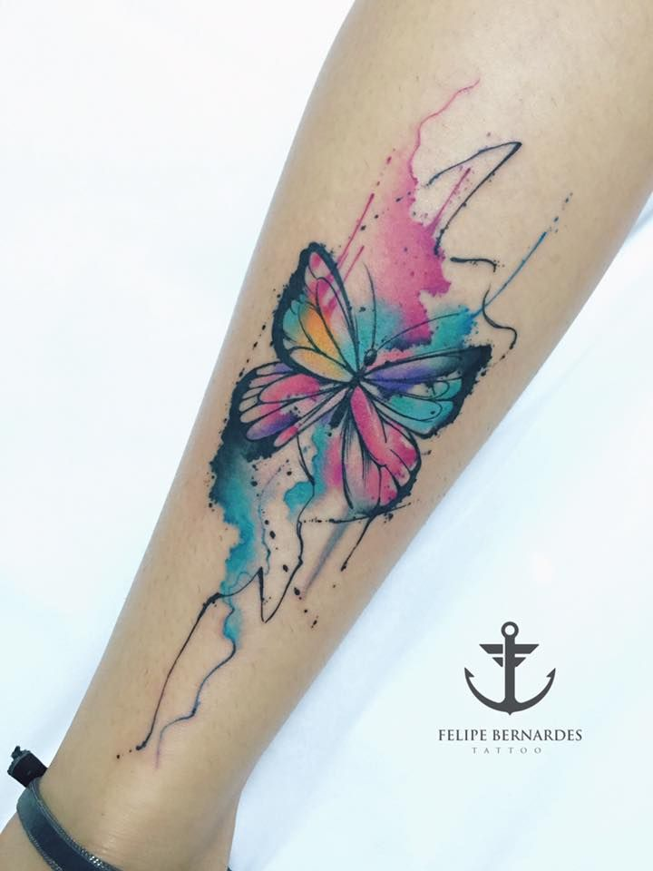 watercolor tattoo butterfly - 720×960