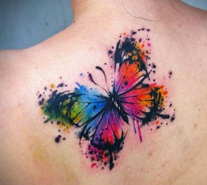 bd0c2264e66e8 Awesome Watercolor Butterfly Tattoo On Upper Back