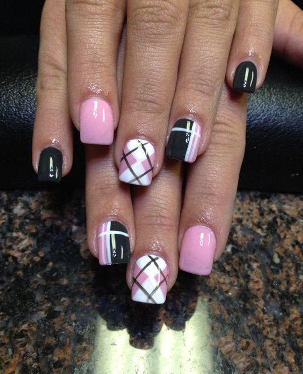Baby Pink White And Black Plaid Nail Art