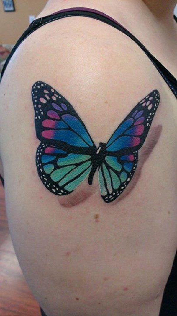 b958cd5d6 Beautiful 3D Butterfly Tattoo On Right Shoulder