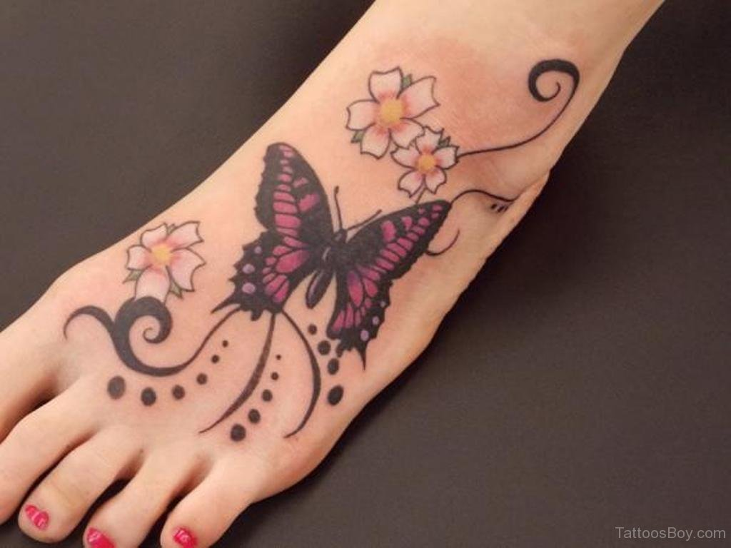 57 Butterfly And Flower Tattoos On Foot