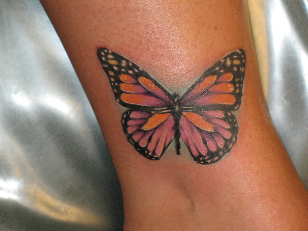 e59bb6718ab9e Beautiful Butterfly Tattoo On Ankle