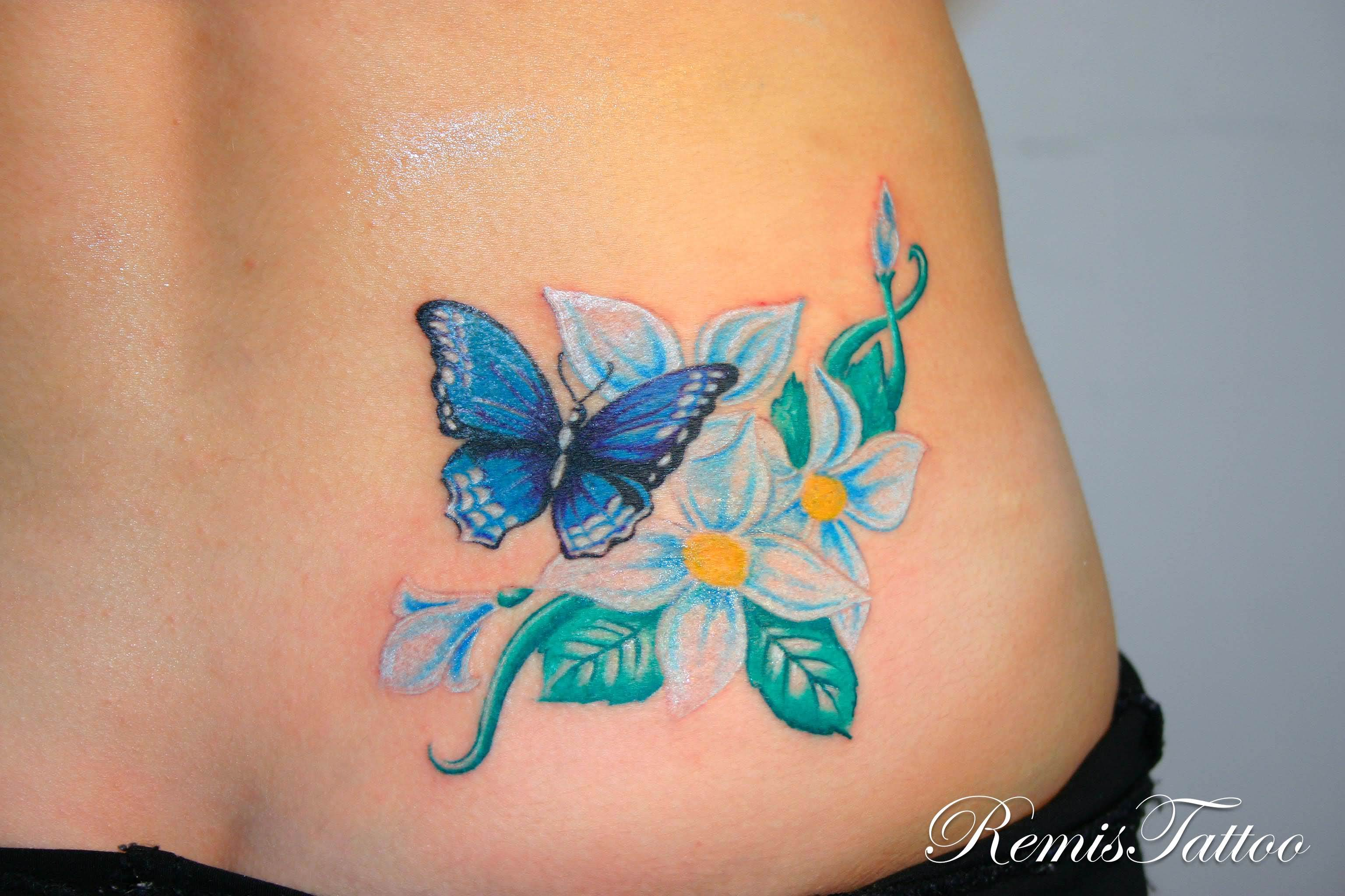 55 butterfly flower tattoos beautiful color butterfly with flowers tattoo izmirmasajfo