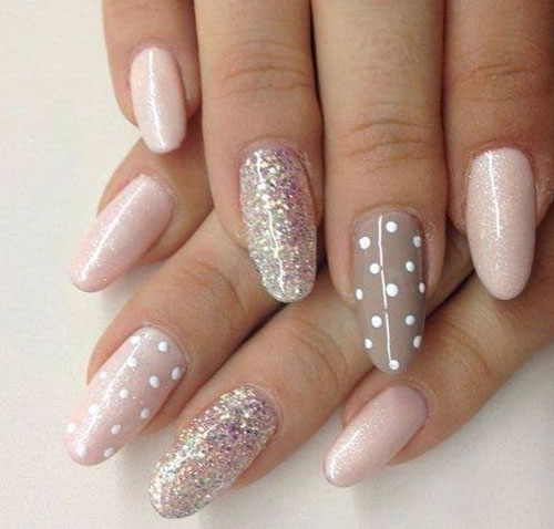 beige glitter gel and dots design nail art - Gel Nail Design Ideas