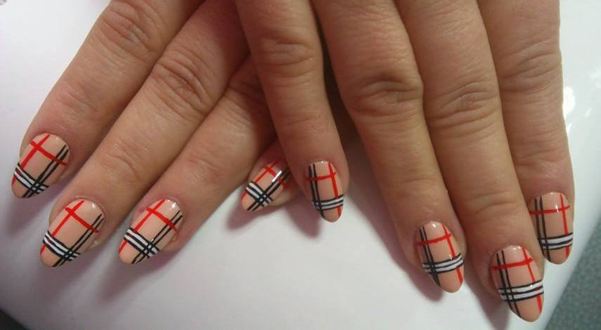Beige Nails With Red Black And White Plaid Nail Art - 60 Most Beautiful Plaid Design Nail Art Ideas For Trendy Girls