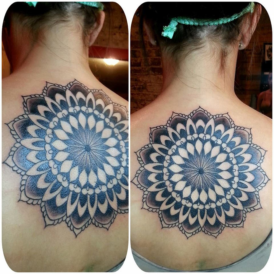 0685944c0 Big Mandala Flower Tattoo On Upper Back