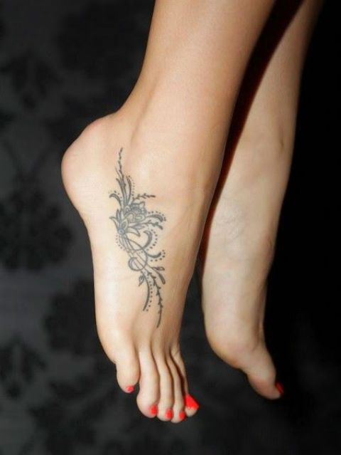 Black And White Flower Pattern Foot Tattoo For Girls