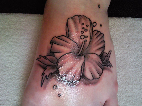 25+ Black And White Flower Foot Tattoo