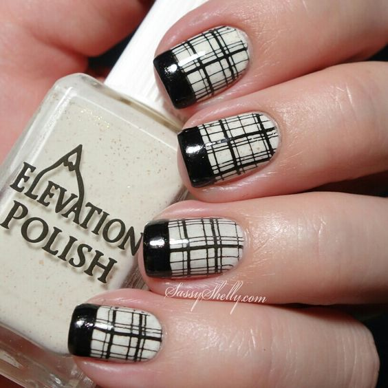 Black And White Plaid Nail Art And Black Tip Design