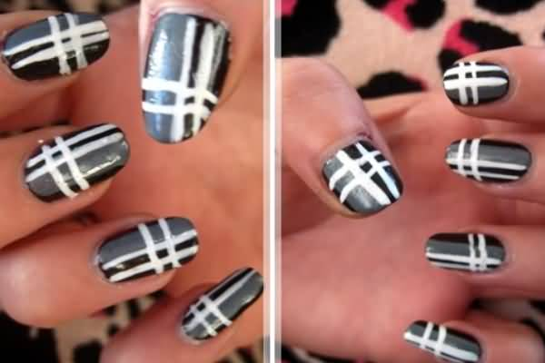Black And White Plaid Nail Art