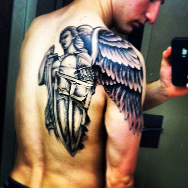 1c2f362ec Black Guardian Angel Tattoo On Back Shoulder For Men