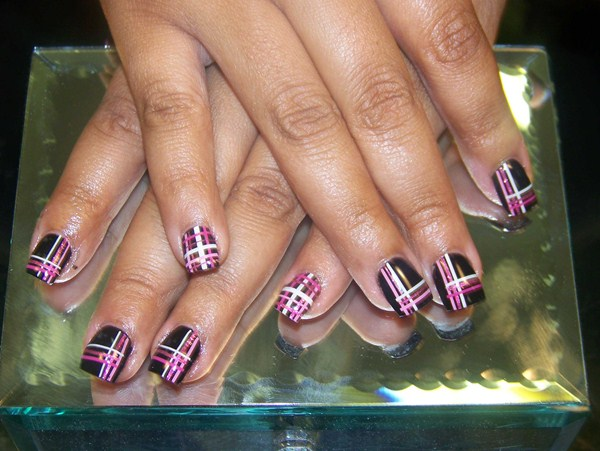 Black Nails With Pink And White Plaid Design Nail Art