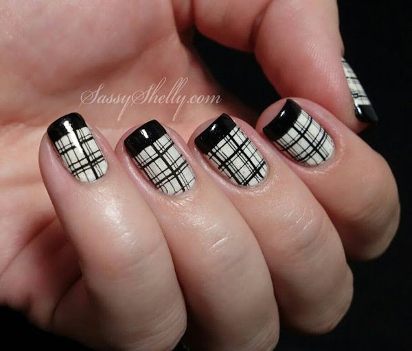 Black Tip And Plaid Design Nail Art
