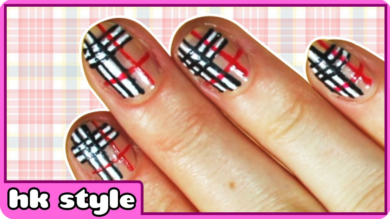 Black White And Red Plaid Nail Art