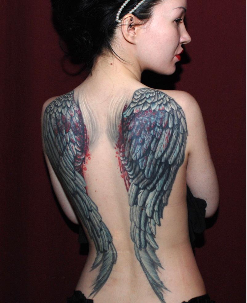 40 angel wings tattoos on back