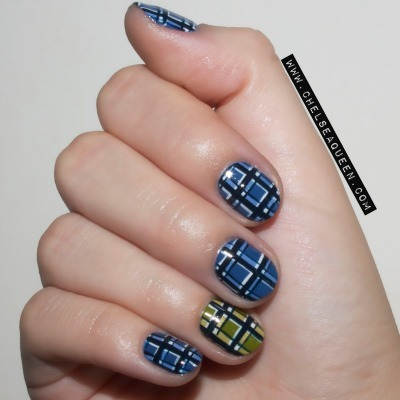 Blue And Green Plaid Nail Art