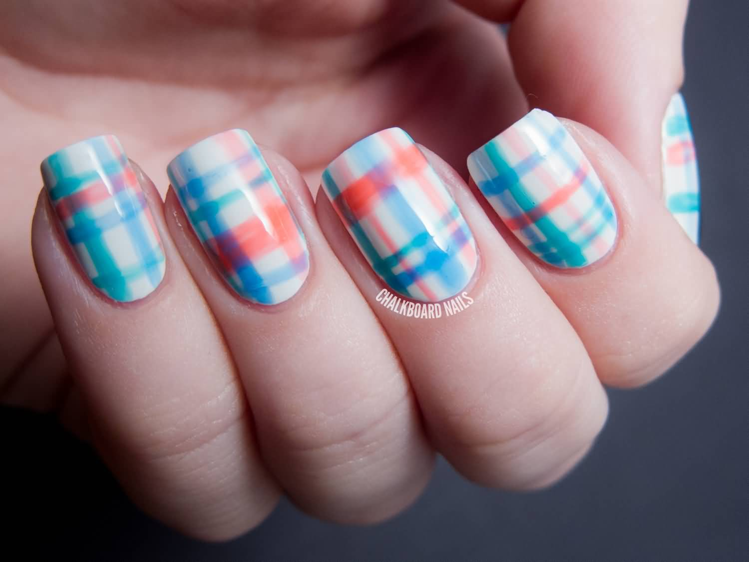 Blue And Peach Plaid Nail Art 60