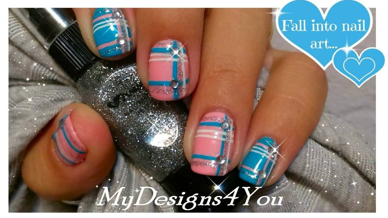 Blue And Pink Plaid Nail Art Design With Rhinestones