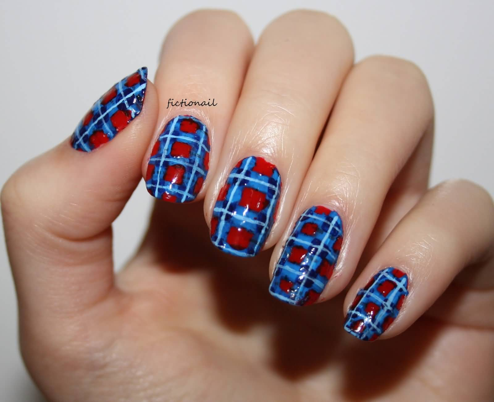 Blue And Red Plaid Nail Art