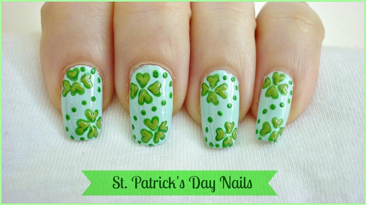 Nail Art Ideas shamrock nail art tutorial : Blue Base Nails With Green Shamrock Leaf Saint Patrick's Day Nail ...