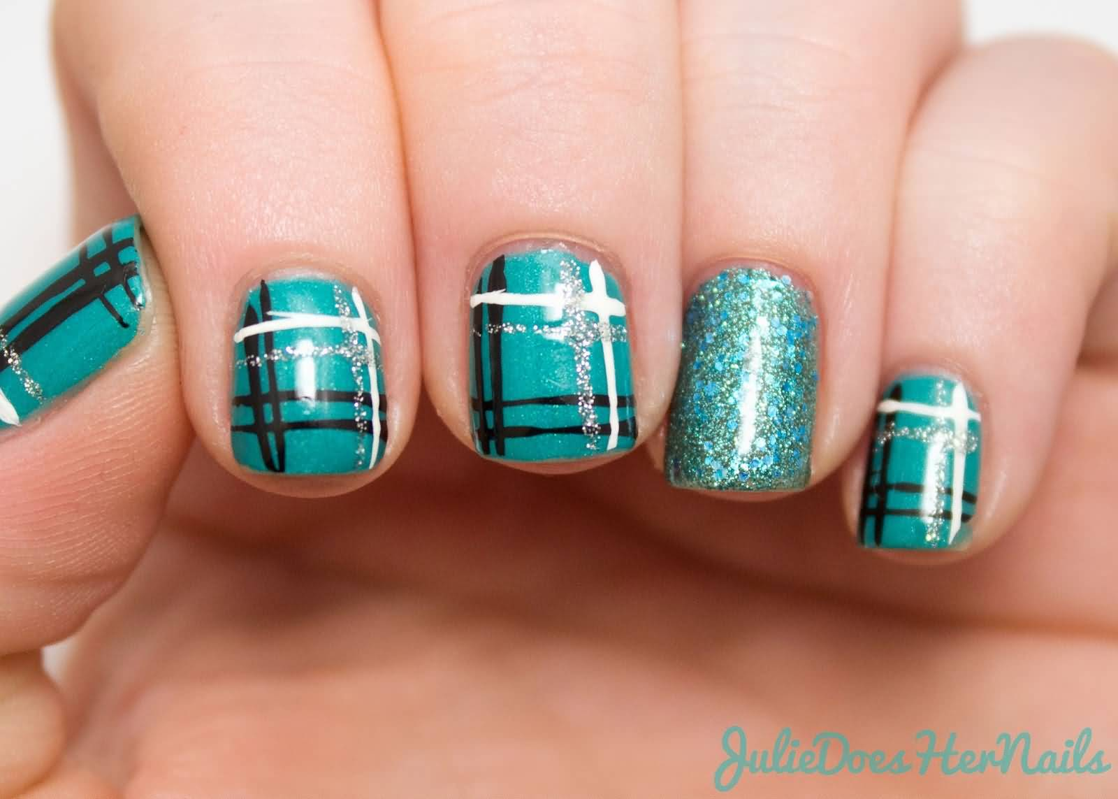 Blue Black And Silver Glitter Plaid Nail Art