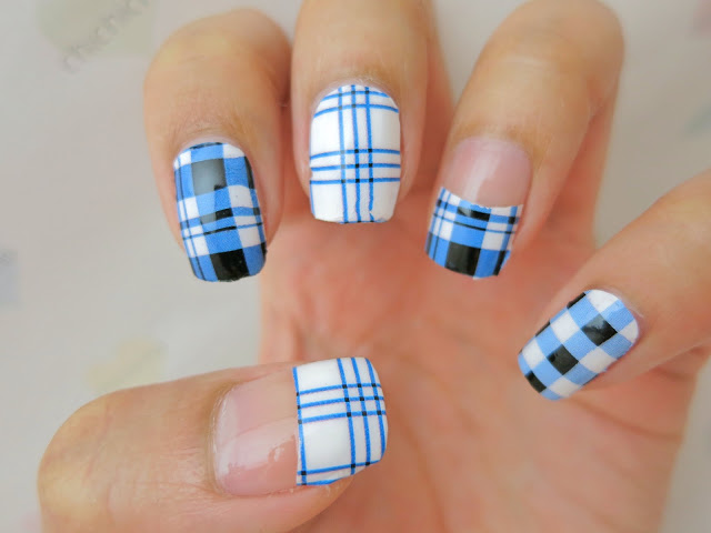 Blue Black And White Plaid Nail Art