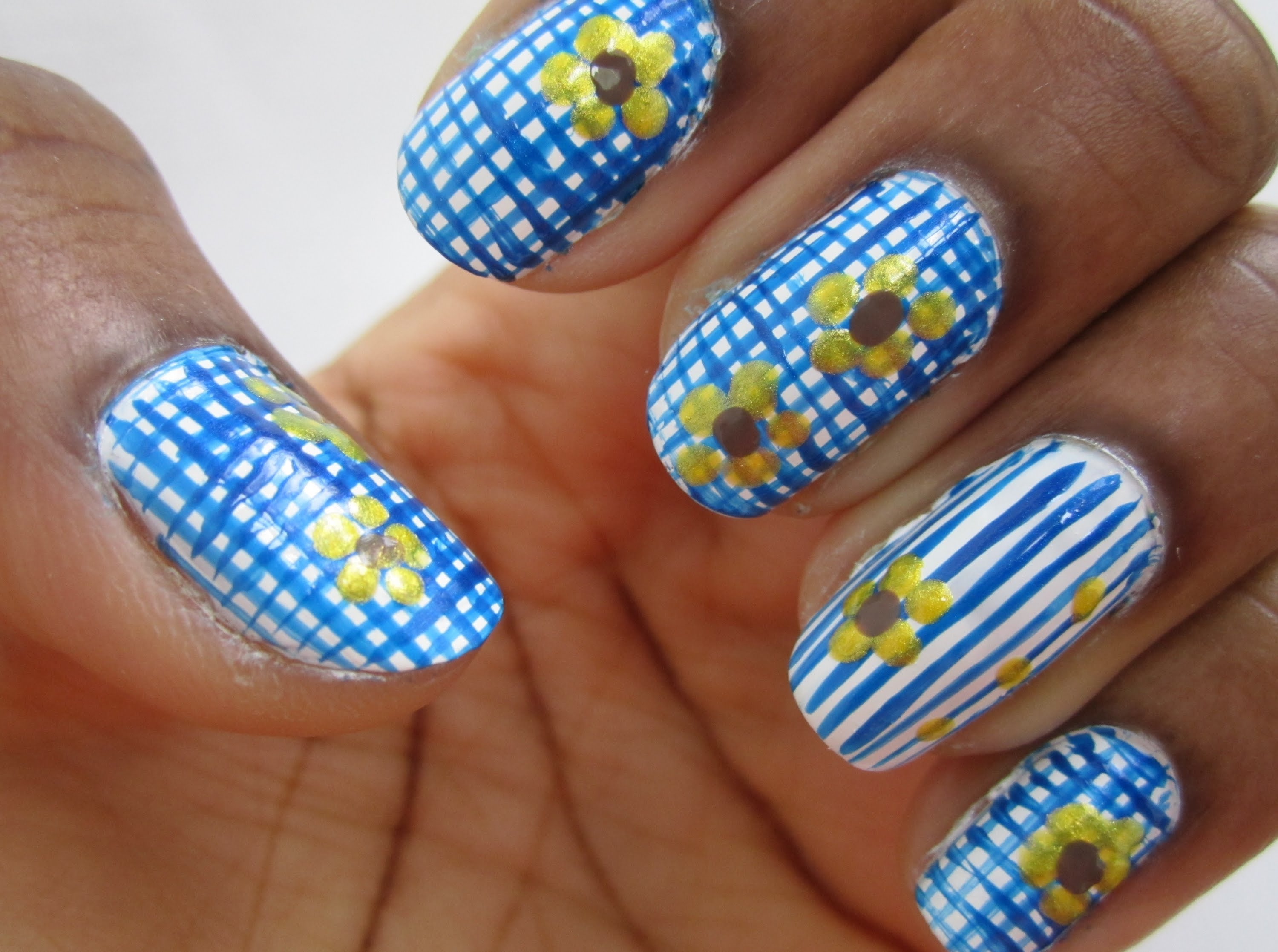 Blue Gingham Nail Art With Floral Design With Tutorial Video
