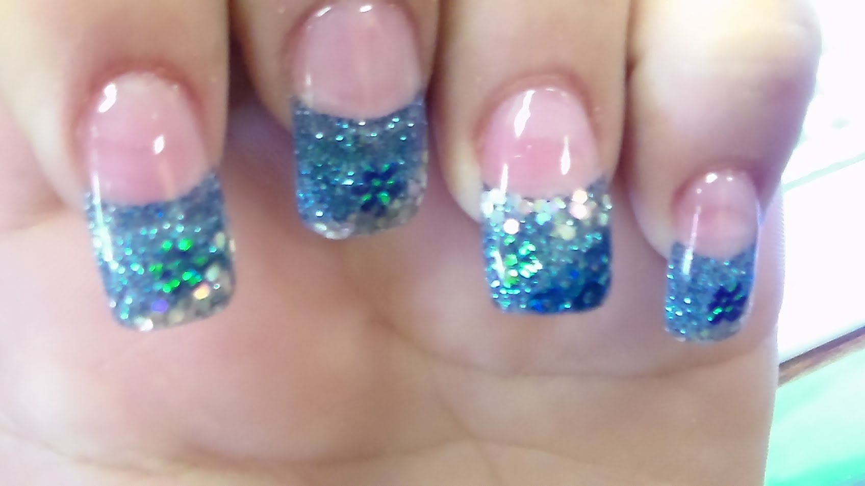Blue Glitter Gel French Tip Nail Art With Tutorial Video