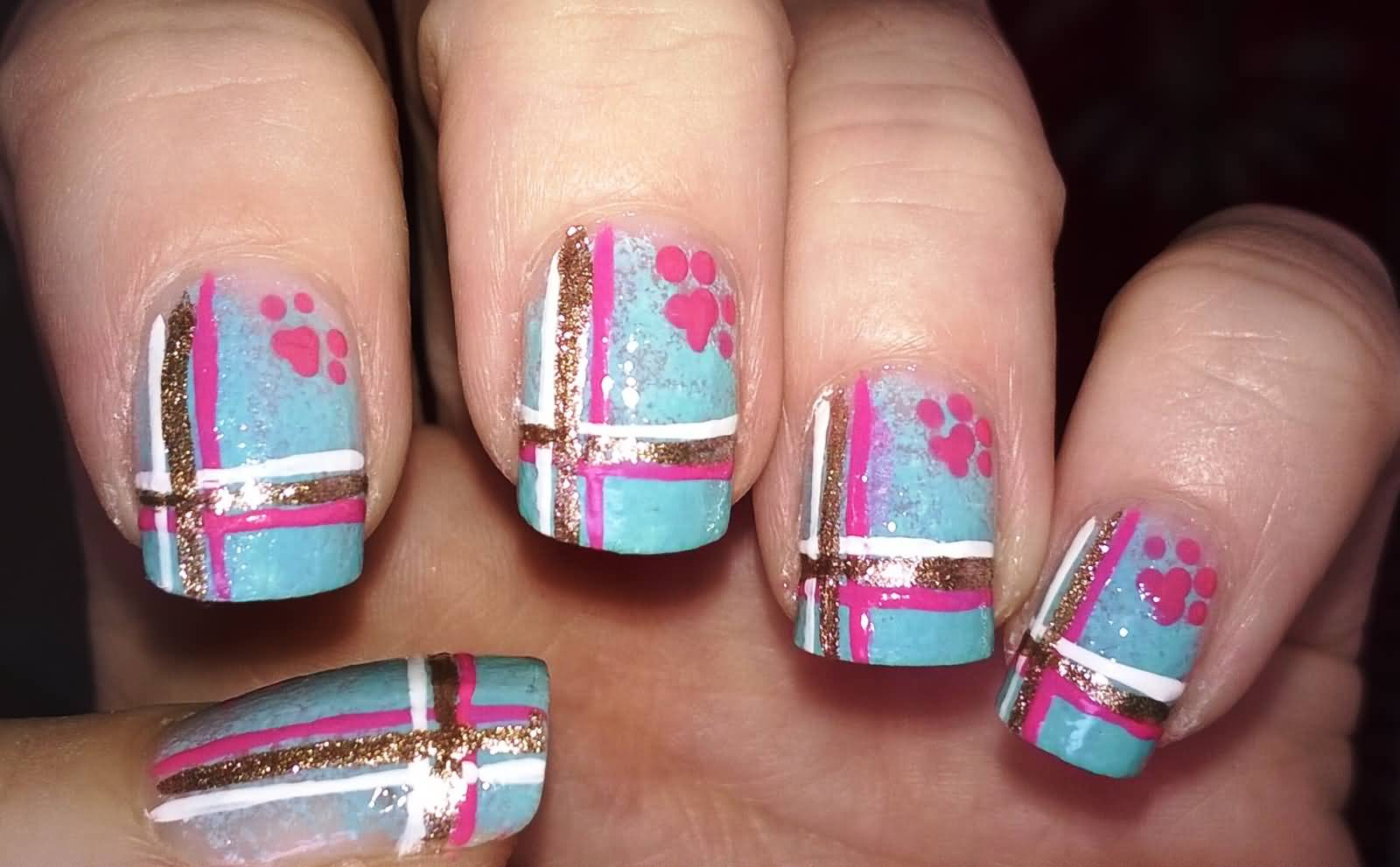 Blue Nails With Gold Glitter White And Pink Plaid Nail Art