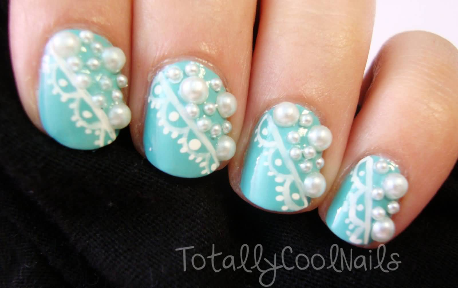 Blue Nails With White Lace And Pearls Design Nail Art With Tutorial ...