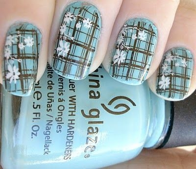 Blue Plaid Nail Art With Flowers Design