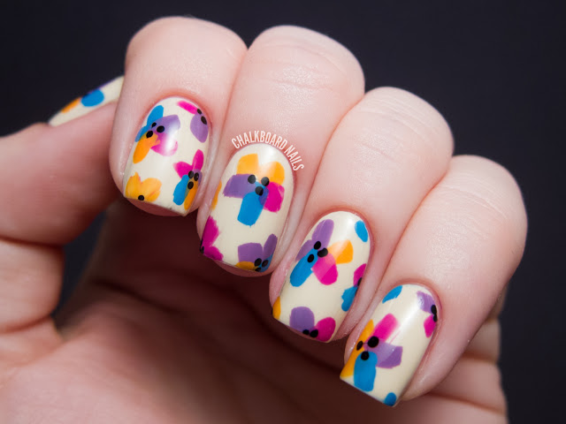 Bright Easter Flowers Nail Art