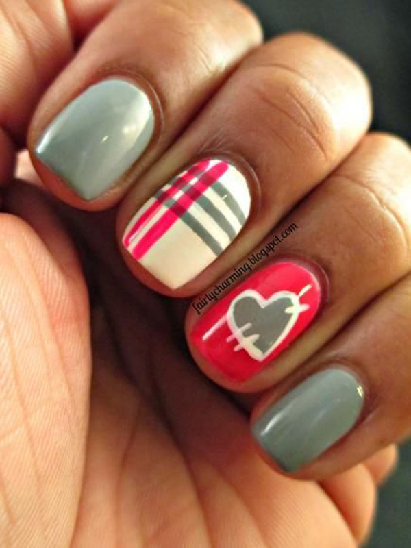Bright Pink And Gray Plaid Nail Art