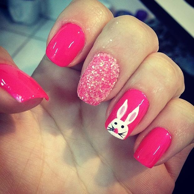 Bright Pink Nails And Accent Easter Bunny Nail Art
