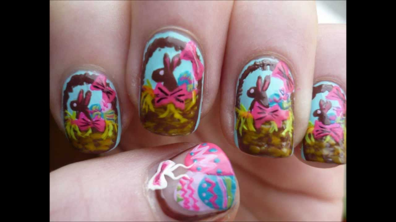 Brown Easter Bunnies Nail Art With Tutorial Video