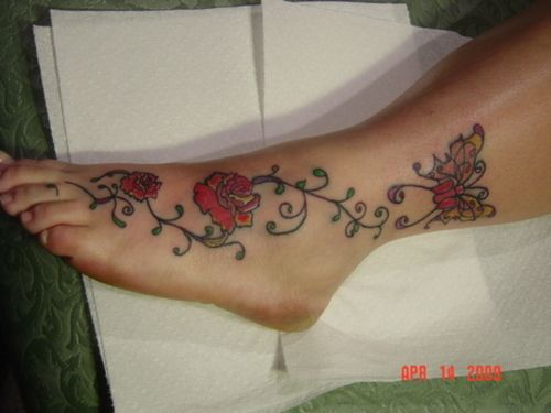 57 butterfly and flower tattoos on foot. Black Bedroom Furniture Sets. Home Design Ideas