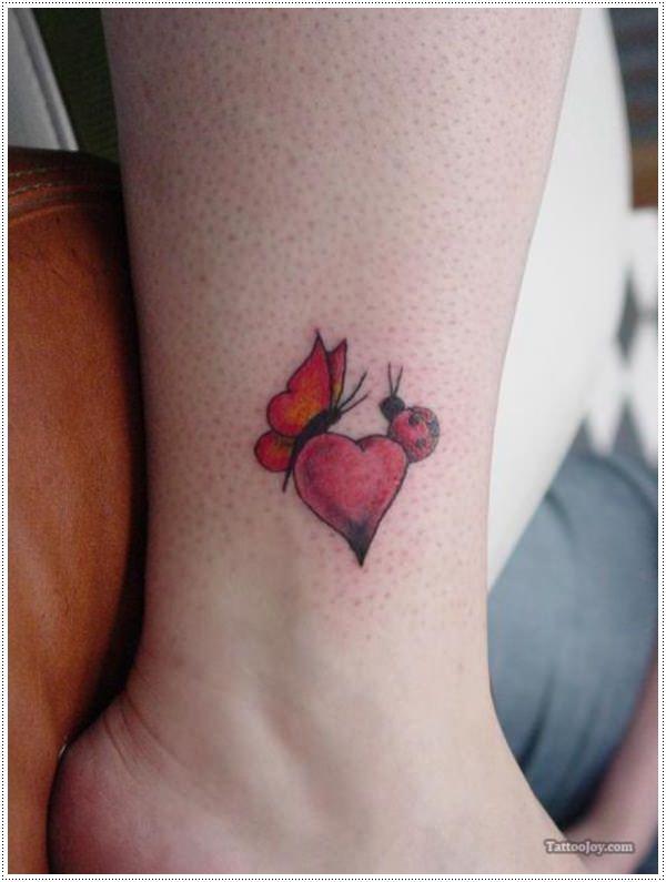 Infinity heart ankle tattoo for Ladybug heart tattoos