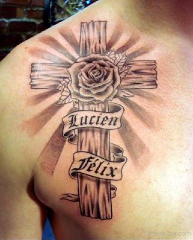 Christian religious tattoo on man chest for Religious chest tattoos