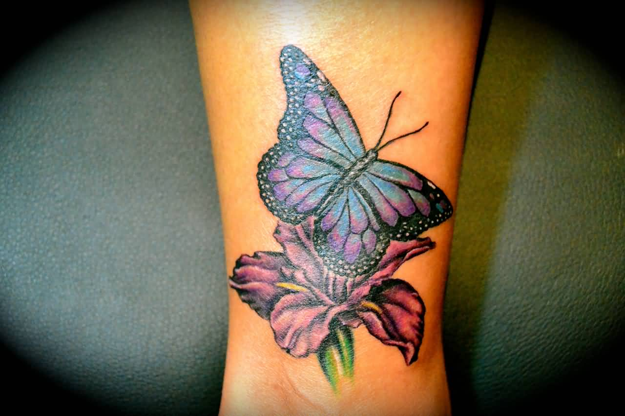 b336e20c9b08d Color Butterfly With Flower Tattoo On Ankle