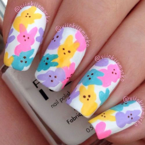 Colorful Easter Bunnies Nail Art