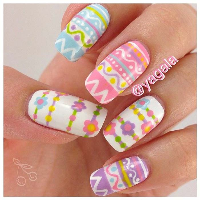 Colorful Easter Eggs And Flowers Nail Art