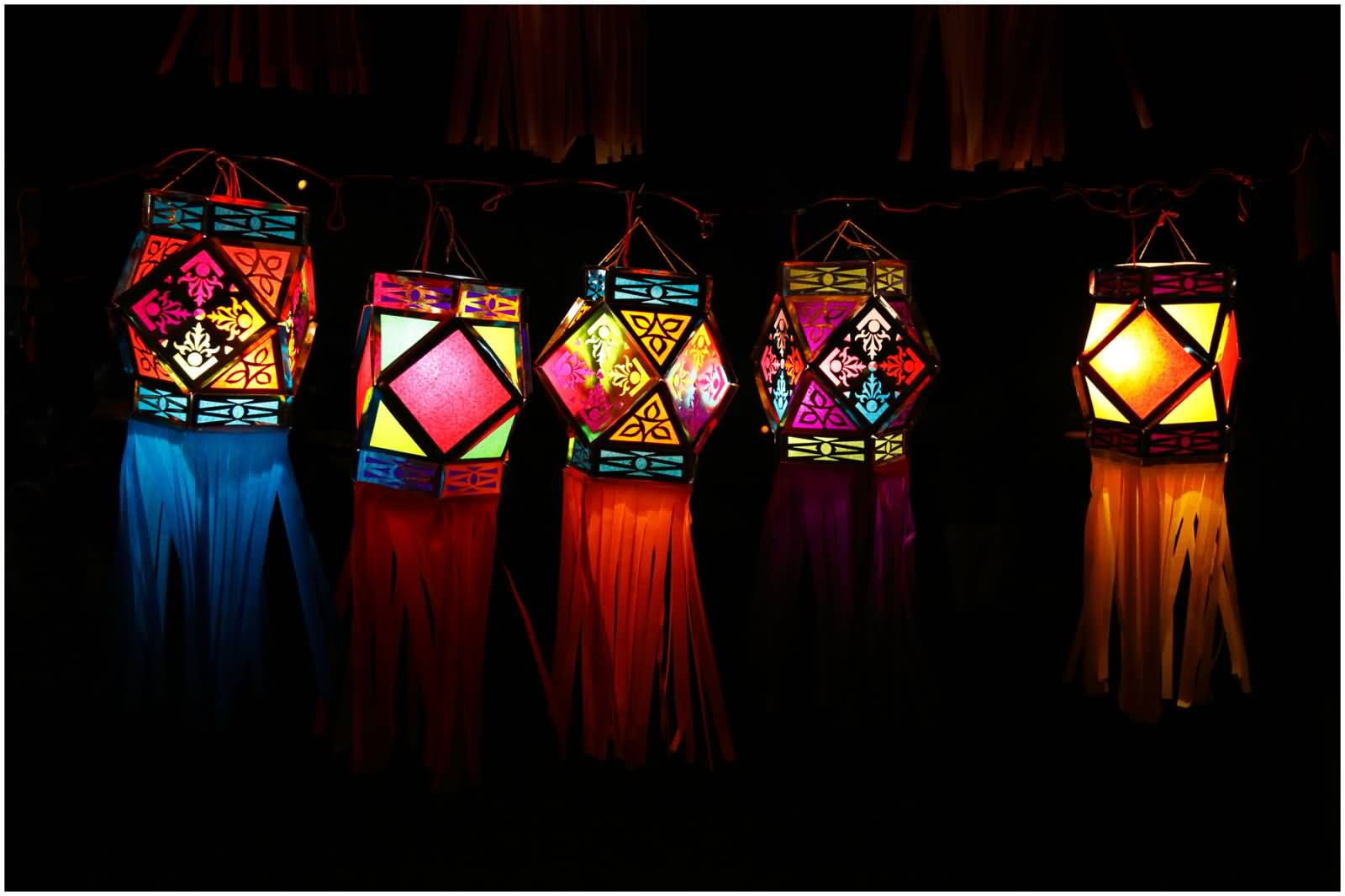 Colorful Hanging Lanterns Diwali Decoration Ideas