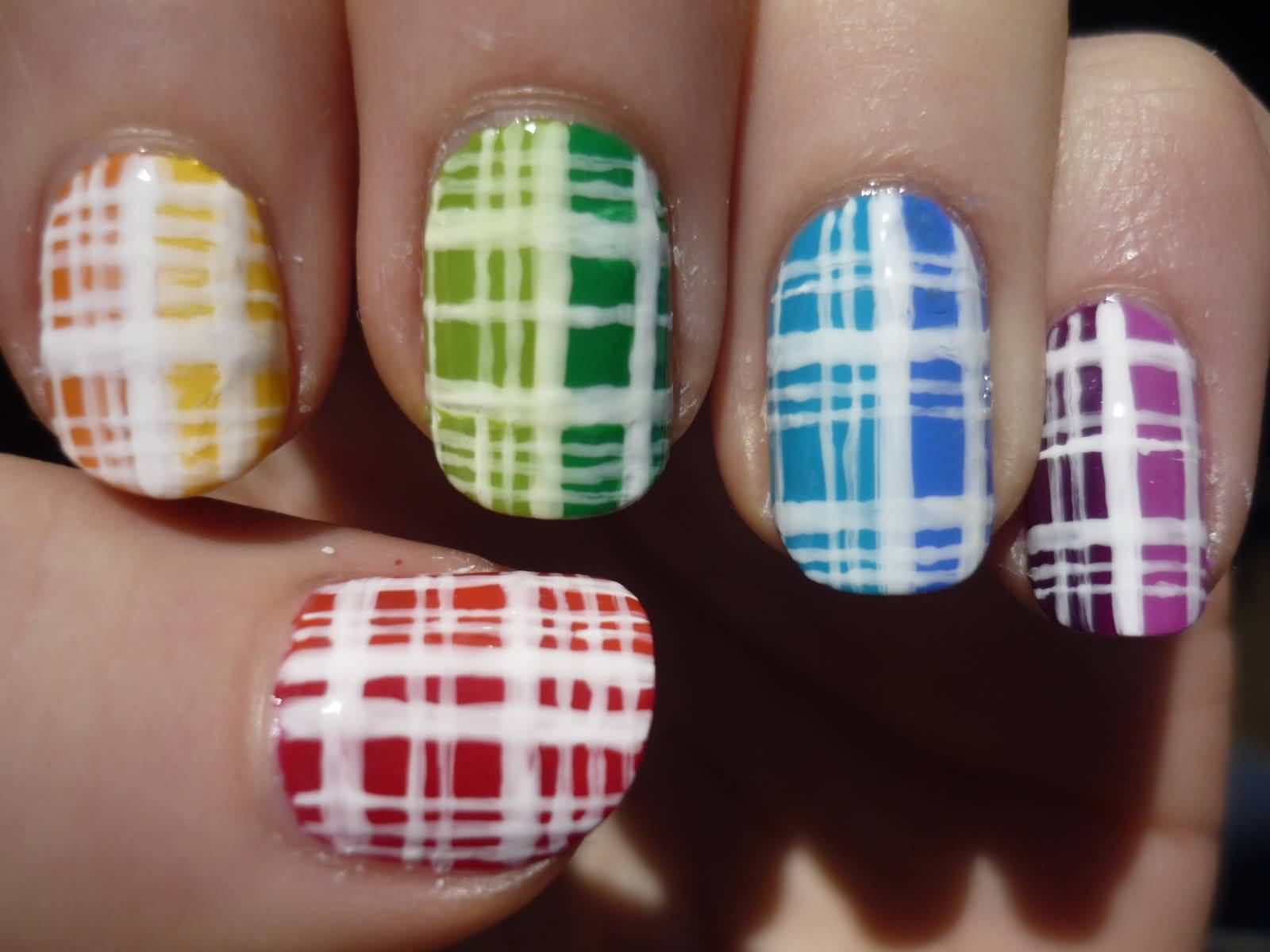 Colorful Plaid Nail Art