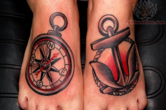 27 traditional anchor foot tattoos. Black Bedroom Furniture Sets. Home Design Ideas