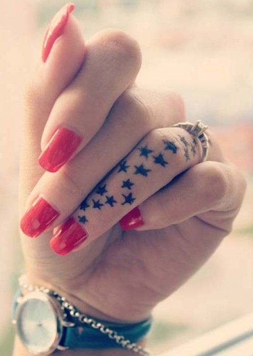 8712c186a Cool Small Girly Finger Stars Tattoo