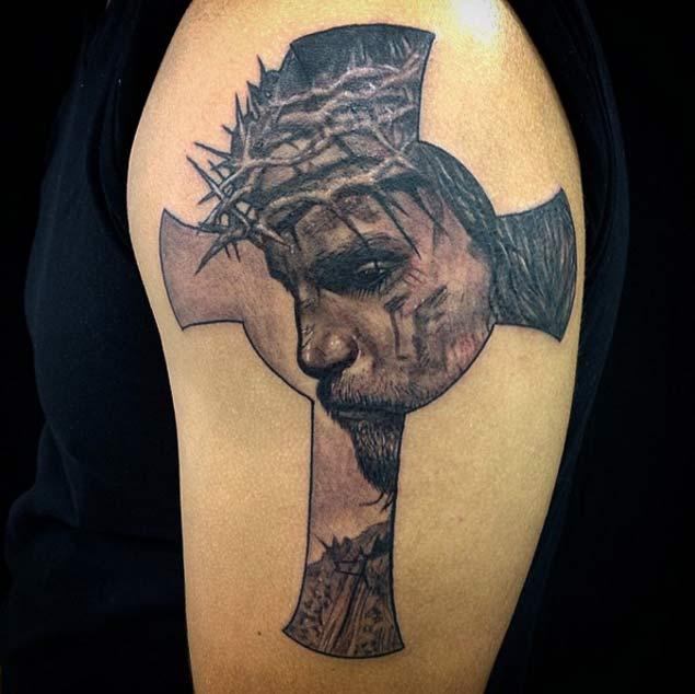 Jesus Inside Of Face Tattoo Design