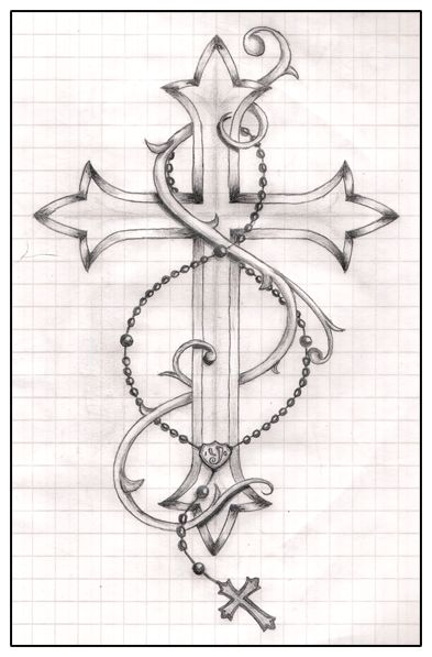 Cross And Rosary Tattoo Drawing By Ytse80