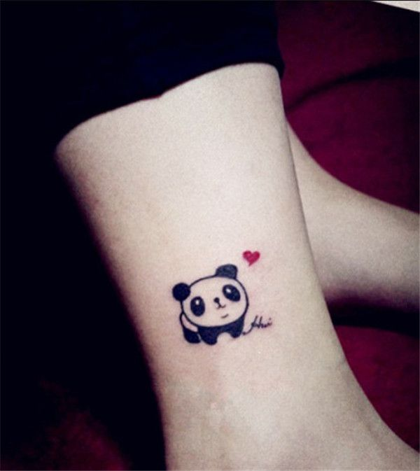 Cute Baby Panda With Small Heart Tattoo On Ankle
