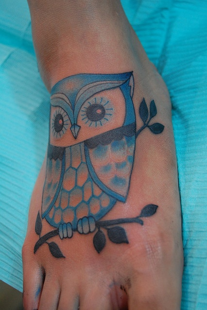 Cute owl tattoos on foot - photo#6